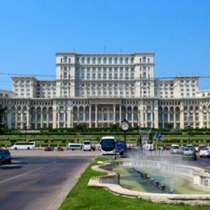 Facciata del parlamento di Bucarest