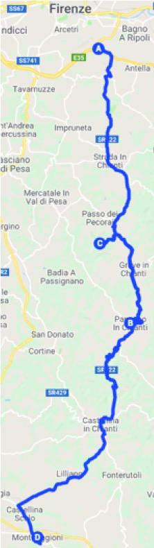 Itinerario in auto da SR222 a Monteriggioni