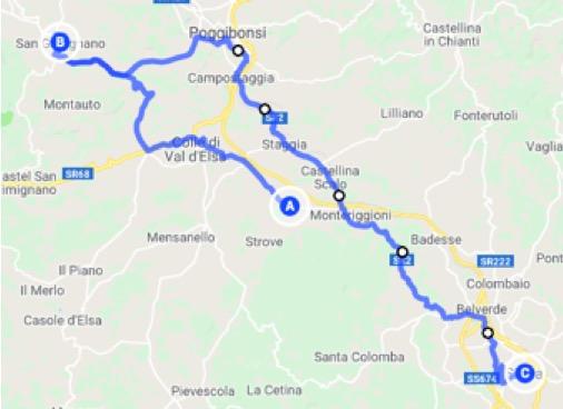Itinerario in auto da Monteriggioni a Siena