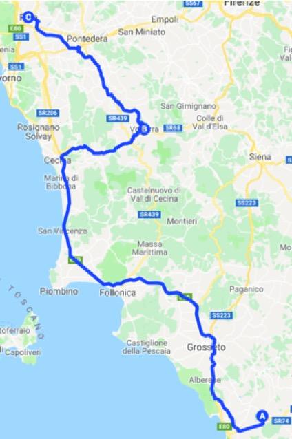 Cartina percorso in auto dalla Maremma a Siena
