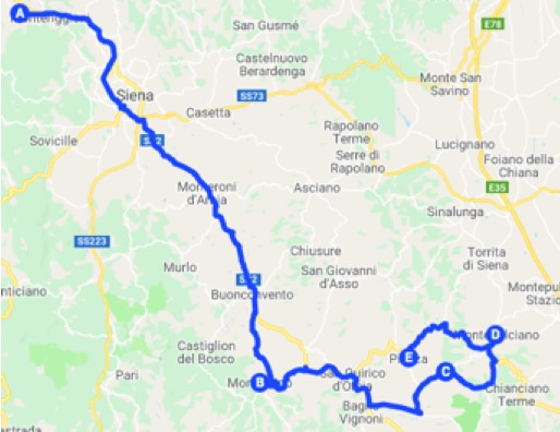 Mappa dell'itinerario in Toscana da Monteriggioni a Pienza