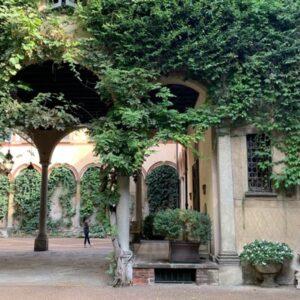 Cortili con porticato e piante rampicanti