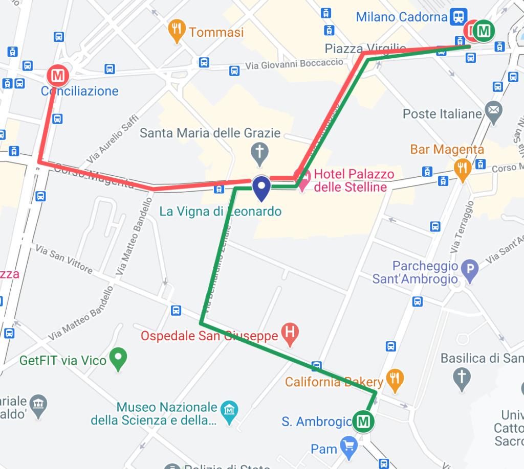 Mappa per arrivare alla Vigna di Leonardo con la metropolitana